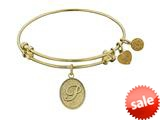 Angelica Collection Non-antique Yellow Stipple Finish Brass Initial p Expandable Bangle style: GEL1170
