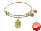 Angelica Collection Non-antique Yellow Stipple Finish Brass Initial r Expandable Bangle style: GEL1172