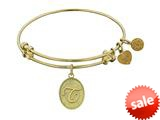 Angelica Collection Non-antique Yellow Stipple Finish Brass Initial t Expandable Bangle style: GEL1174
