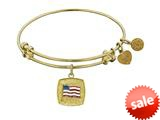 Angelica Collection Non-antique Yellow Stipple Finish Brass With Enamel American Flag Expandable Bangle style: GEL1203
