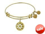 Angelica Collection Non-antique Yellow Stipple Finish Brass Enamel daisy Flower Expandable Bangle style: GEL1204