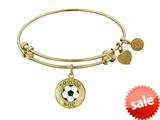 "Angelica Collection Non-antique Yellow Stipple Finish Brass With Enamel ""soccer Mom"" Expandable Bangle style: GEL1205"