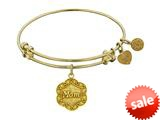 Angelica Collection Antique Yellow Stipple Finish Brass mom On 7-leaf Flower Like Charm Expandable Bangle style: GEL1213