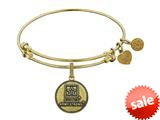 Angelica Collection Brass with Yellow Finish U.S. Army Strong Round Expandable Bangle style: GEL1310