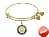 Angelica Collection Brass with Yellow Finish Enamel U.S. Navy Round Expandable Bangle style: GEL1319
