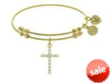 Angelica Collection Brass With Yellow Cross Charm With White CZ On Yel Low Bangle style: GEL1404