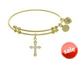Brass With Yellow Finish Cross Charm On Yellow Angelica Collection Bangle style: GEL1619