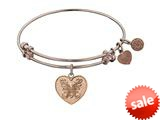 Angelica Collection Non-antique Pink Stipple Finish Brass angelica Heart Expandable Bangle style: PGEL1035