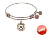 "Angelica Collection Non-antique Pink Stipple Finish Brass With Enamel ""soccer Mom"" Expandable Bangle style: PGEL1205"