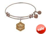 Angelica Collection Antique Pink Stipple Finish Brass mom On 7-leaf Flower Like Charm Expandable Bangle style: PGEL1213