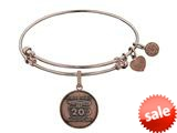 Angelica Collection Brass with Pink Finish Friends 20th Anniversary Charm Expandable Bangle style: PGEL1305