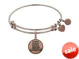 Angelica Collection Brass with Pink Finish U.S. Army Strong Round Expandable Bangle style: PGEL1310