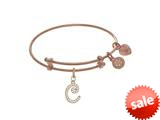 Brass With Pink Finish Charm Initial C On Pink Angelica Tween Bangle (Small) style: PTGEL9052