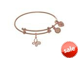 Angelica Collection Brass With Pink Butterfly Charm With CZ On Pink An Gelica Tween Bangle (Small) style: PTGEL9079