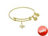 Brass With Yellow Butterfly Charm With CZ On Yello W Angelica Collection Tween Bangle (Small) style: TGEL9079