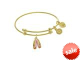 Angelica Collection Brass With Yellow Balerina Shoe Charm On Yellow An Gelica Bangle (Small) style: TGEL9090