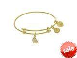 Yellow Finish Expandable Tween Brass Bangle CZ Hea Rt On Yellow Angelica Collection Tween Bangle (Small) style: TGEL9113