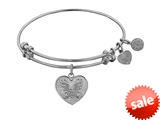 Angelica Collection Non-antique White Stipple Finish Brass angelica Heart Expandable Bangle style: WGEL1035