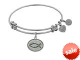 Angelica Collection Non-antique White Stipple Finish Brass christian Fish Expandable Bangle style: WGEL1048
