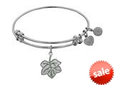 Angelica Collection Non-antique White Stipple Finish Brass leaf Expandable Bangle style: WGEL1115
