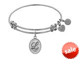 Angelica Collection Non-antique White Stipple Finish Brass Initial l Expandable Bangle style: WGEL1166