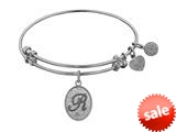 Angelica Collection Non-antique White Stipple Finish Brass Initial R Expandable Bangle style: WGEL1172