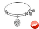 Angelica Collection Non-antique White Stipple Finish Brass Initial v Expandable Bangle style: WGEL1176