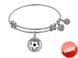"Angelica Collection Non-antique White Stipple Finish Brass With Enamel ""soccer Mom"" Expandable Bangle style: WGEL1205"