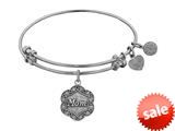 Angelica Collection White Stipple Finish Brass mom On 7-leaf Flower Like Charm Expandable Bangle style: WGEL1213