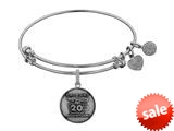 Angelica Collection Brass with White Finish Friends 20th Anniversary Charm Expandable Bangle style: WGEL1305