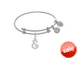 Brass With White Finish Charm Initial E On White Angelica Tween Bangle (Small) style: WTGEL9054