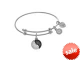 Brass With White Yin Yang Charm On White Angelica Collection Tween Bangle (Small) style: WTGEL9077