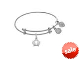 Brass With White Crown Small Charm On White Angelica Tween Bangle (Small) style: WTGEL9080