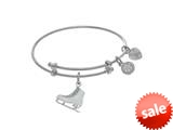 Brass With White Ice Skating Charm On White Angelica Tween Bangle (Small) style: WTGEL9083