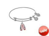 Angelica Collection Brass With White Balerina Shoe Charm On White Ange Lica Tween Bangle (Small) style: WTGEL9090