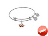 Brass With Pink Comedy+tragedy Charm On White Angelica Collection Tween Bangle (Small) style: WTGEL9095