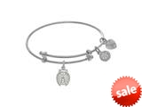 Brass With White Finish Lady Bug With CZ Charm On White Angelica Collection Tween Bangle (Small) style: WTGEL9112