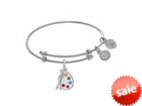 Brass With White Finish Enamel Paint Pallet Charm On White Angelica Collection Tween Bangle (Small) style: WTGEL9117