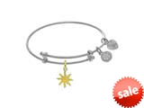 Brass With White Finish Enamel Sun Charm On White Angelica Collection Tween Bangle (Small) style: WTGEL9129