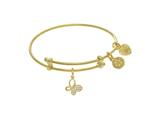 Brass With Yellow Butterfly Charm With CZ On Yello W Angelica Collection Tween Bangle style: TGEL9079