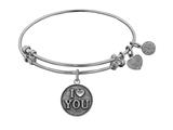 "Angelica Collection Antique White Stipple Finish Brass ""I Love You"" Expandable Bangle style: WGEL1011"