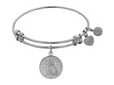 "Angelica Collection Non-antique White Stipple Finish Brass ""dog"" Expandable Bangle style: WGEL1096"