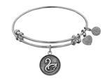 "Angelica Collection Antique White Stipple Finish Brass ""Swan; Grace, Purity, Elegance"" Expandable Bangle style: WGEL1113"