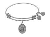 Angelica Collection Non-antique White Stipple Finish Brass Initial a Expandable Bangle style: WGEL1155