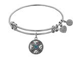 Angelica Collection Antique White Finish Brass September Simulated Sapphire Expandable Bangle style: WGEL1190