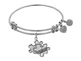 "Angelica Collection Antique White Smooth Finish Brass Generation Rescue ""autism"" Expandable Bangle style: WGEL1209"