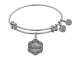 """Angelica Collection White Stipple Finish Brass """"mom"""" On 7-leaf Flower Like Charm Expandable Bangle style: WGEL1213"""