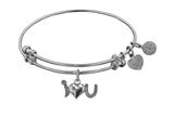 "Angelica Collection Non-antique White Stipple Finish Brass ""i-heart-u"" Expandable Bangle style: WGEL1215"