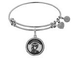 Angelica Collection Brass with White Finish Proud Daughter U.S. Marine Corps Round Expandable Bangle style: WGEL1283