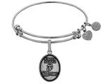 Angelica Collection Brass with White Finish Always Faithful U.S. Marine Corps Oval Expandable Bangle style: WGEL1286